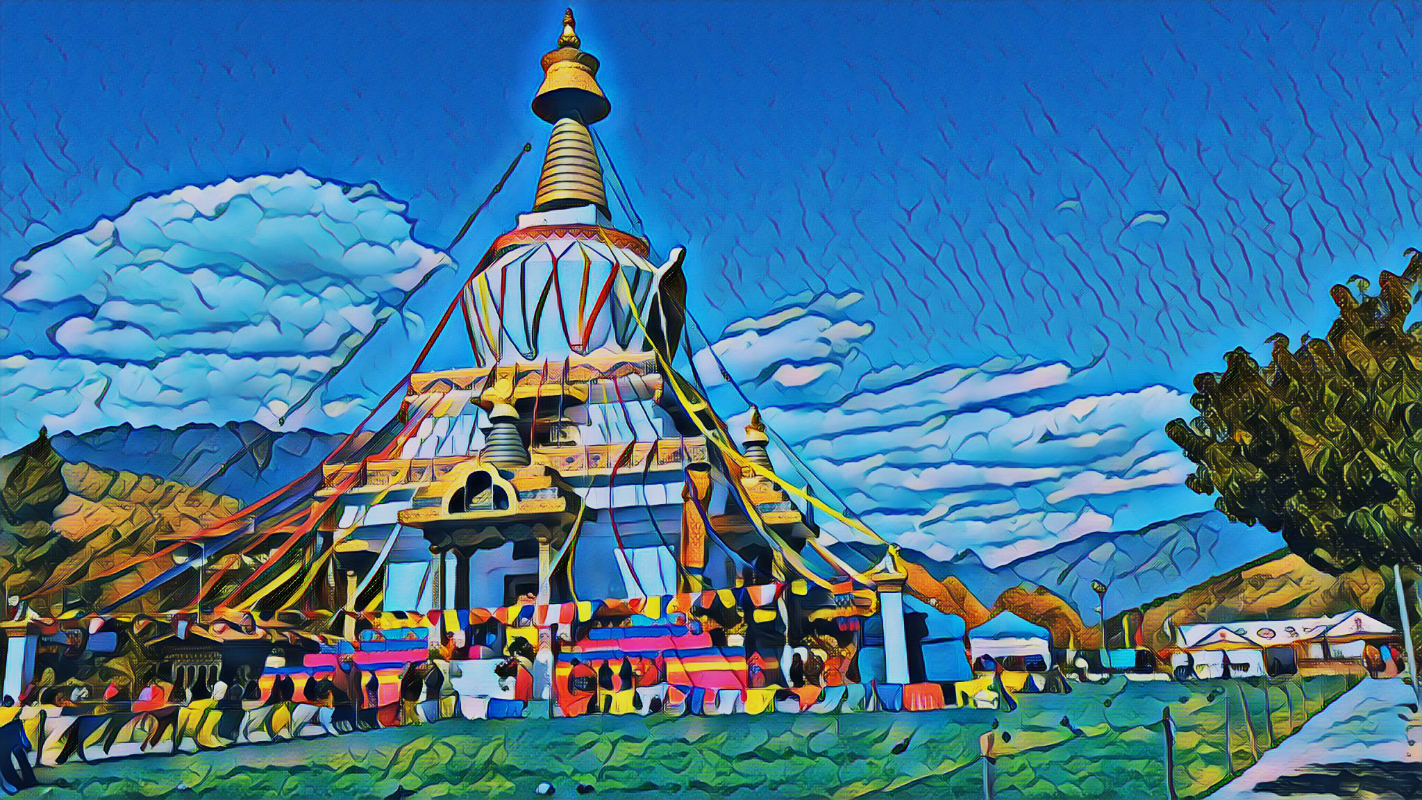 Deep neural network paintings of the Land of the Thunder Dragon